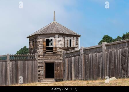 Wood wall and structures of Fort Ross State Historic Park on the Sonoma County coast of California - Stock Photo