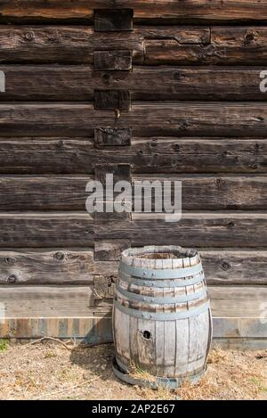 Building details of wooden hand built structures at Fort Ross State Historic Park on the Sonoma County coast of California - Stock Photo