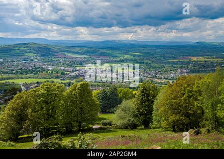 The view across Monmouth and the Usk Valley to the Brecon Beacons from The Kymin  - a steep hill overlooking Monmouth town.  Taken in May Springtime - Stock Photo