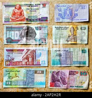 Front view of colorful Egyptian pounds money - Stock Photo