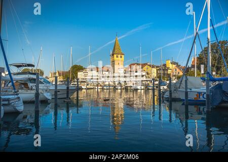 Lindau, Germany, July 2019 - View of marina and the Mangturm tower situated in the german port Lindau.