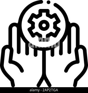 Hands Hold Gear Icon Vector Outline Illustration - Stock Photo