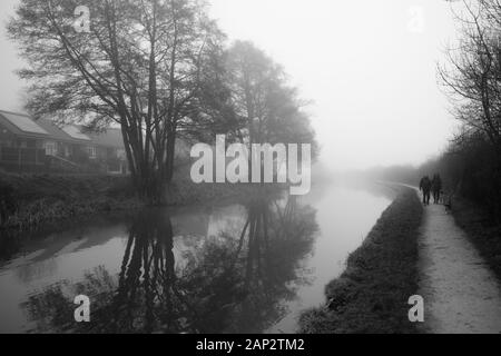 Early misty morning by the Trent and Mersey canal (Staffordshire,UK). Reflection of the leafless trees in the water. Footpath that goes in to eternity - Stock Photo