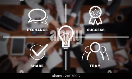 Iconic image of collaboration process over office team background - Stock Photo