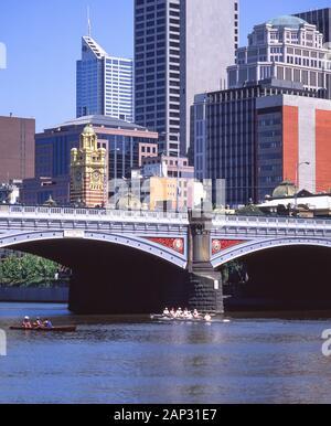 City and Princes Bridge across Yarra River, Melbourne, Victoria, Australia