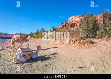Kasbah Ait Ben Haddou in the Atlas Mountains of Morocco. UNESCO World Heritage Site since 1987. Several films have been shot there. - Stock Photo