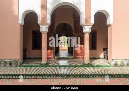 Details of entrance of a moroccan palace or Riad in Marrakesh - Stock Photo