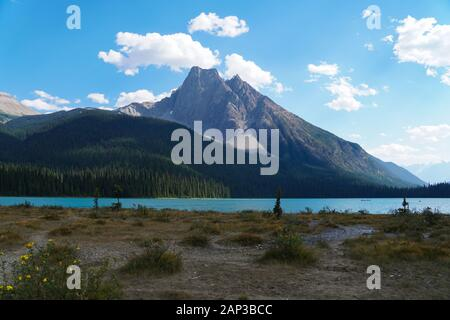 A view of one of the many beautiful mountains surrounding Moraine Lake in Banff National Park - Stock Photo