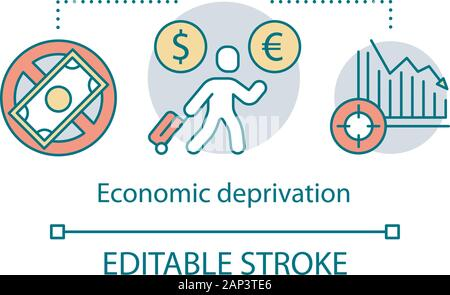 Economic deprivation concept icon. Migrant, guest worker idea thin line illustration. Migration. Financial loss, money lack and unemployment social pr - Stock Photo