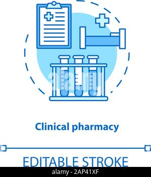 Clinical pharmacy concept icon. Medical laboratory tests and diagnostics idea thin line illustration. Prescribed medication hospital therapy. Vector i - Stock Photo