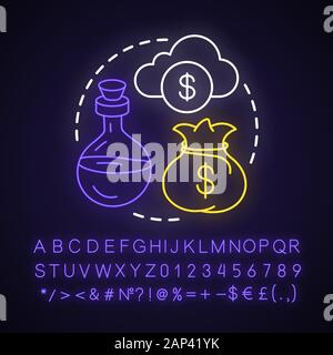 Money spell neon light concept icon. Witchcraft and alchemy idea. Glowing sign with alphabet, numbers and symbols. Cash bag, cloud and potion vector i