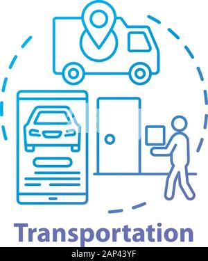 Transportation service concept icon. Express home delivery business idea thin line illustration. Taxi call application. Van, smartphone and courier wi - Stock Photo