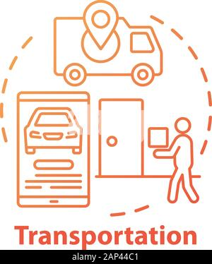 Transportation industry concept icon. Express home delivery business idea thin line illustration. Customer service. Van, smartphone and courier with p - Stock Photo