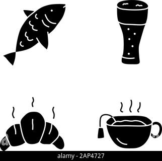 Drinks with snacks doodle glyph icons set. Harmful and healthy beverages with appetizers silhouette symbols. Fish, beer glass, croissant and hot tea v - Stock Photo