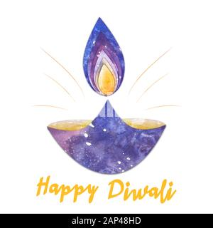 watercolor diwali lamp with flame and shine isolated on whiote background - Stock Photo