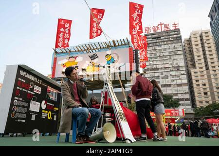 January 20, 2020, Hong Kong, Hong Kong, China: On January 20, 2020 Hong Kong activist Clayton Ng, received a notification from the Hong Kong Food and Enviromental Hygine Department demanding that he dismantle a stall that was set up at the Hong Kong Lunar New Year Festival in Victoria Park. The notice stated that the stall did not fit in with the theme of the festival and that it must be shut down immediately. Over the course of the next twenty hours Mr Ng pled with authorities protesting that they were within the theme of the festival. They were selling plants and flowers, plants for 100HKD a - Stock Photo