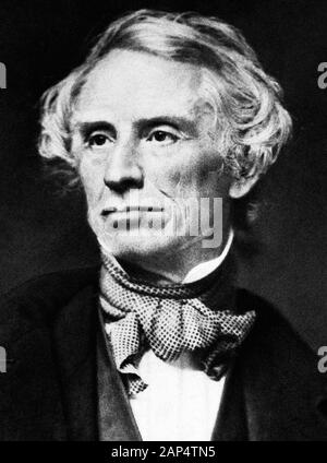 Vintage portrait photo of American painter and inventor Samuel F B Morse (1791 – 1872) – a pioneer in the development of the electric telegraph and co-creator of Morse Code. Photo circa 1855 by Mathew B Brady. - Stock Photo