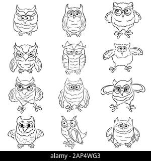 Set of twelve funny cartoon owls outlines isolated on the white background, hand drawing illustration - Stock Photo