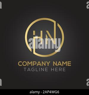 letter HN Logo Design Vector Template. Initial Linked Letter HN Vector Illustration - Stock Photo