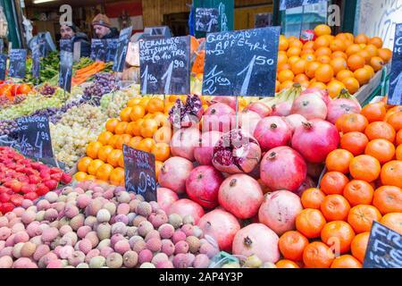 Fruit and vegetables on display at Naschmarkt Market, Vienna, Austria. - Stock Photo