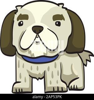Pekingese funny drawing cartoon dog isolated at the white background - Stock Photo