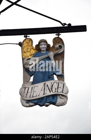 sign for the angel hotel, market square, lavenham, suffolk, england - Stock Photo