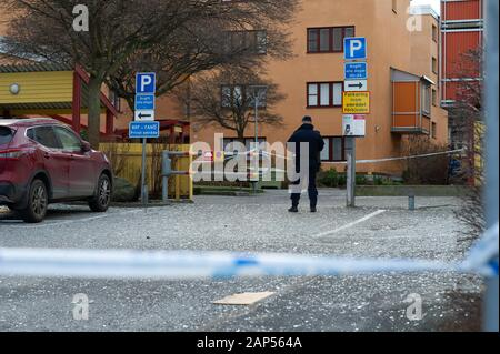 Bomb explosions in Stockholm about 50 people evacuated. Bomb / explosions detonated on two locations in Stockholm this night, in multi-family houses. The first one in Husby, Stockholm at 02:33, and the second in Kista, Stockholm at 02:47 according to the Stockholm Police. Extensive damage to several buildings and cars. - Stock Photo