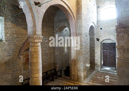The church of San Silvestro in the central Piazza Silvestri represents a remarkable example of the Romanesque architecture of the region, Umbria, Ital - Stock Photo