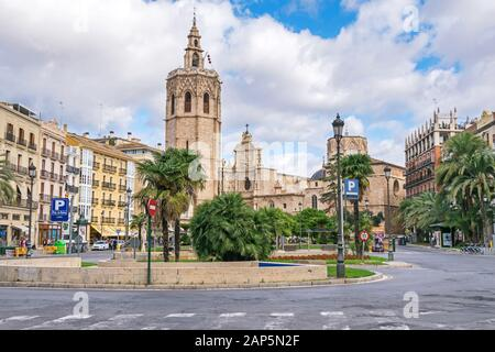 Valencia, Spain - November 3, 2019: Plaza de la Reina and the Roman Catholic parish church Cathedral of Valencia (Metropolitan Cathedral–Basilica of t - Stock Photo