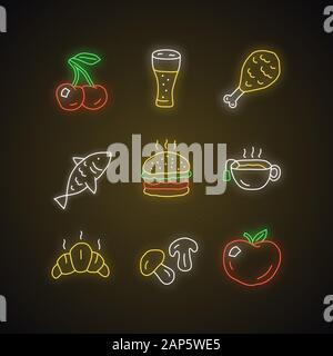 Food and drinks neon light icons set. Burger, chicken leg and beer. Delicious eating and beverages glowing signs. Croissant, hot tea and mushrooms vec - Stock Photo
