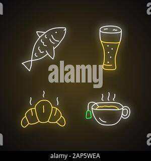 Drinks with snacks neon light icons set. Harmful and healthy beverages with appetizers glowing signs. Fish, beer glass, croissant and hot tea vector i - Stock Photo