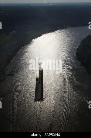 Barge silhouette on Ohio River Kentucky aerial USA - Stock Photo