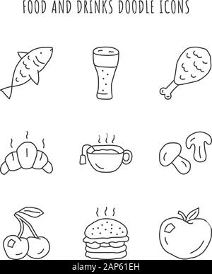 Food and drinks linear icons set. Burger, chicken leg and beer. Eating and beverages thin line contour symbols. Croissant, hot tea and mushrooms isola - Stock Photo