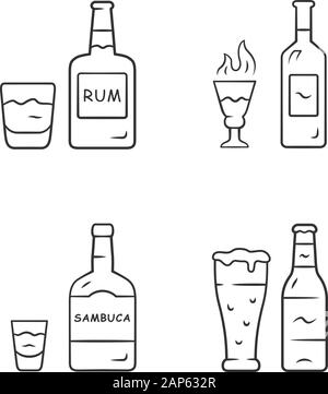 Drinks linear icons set. Rum, absinthe, sambuca, beer. Bottles and beverages in glasses. Refreshment alcoholic liquid. Thin line contour symbols. Isol - Stock Photo