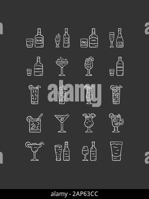 Drinks chalk icons set. Alcohol menu card. Beverages for cocktails. Whiskey, rum, wine, martini, margarita. Refreshing and warming spirit containing l - Stock Photo