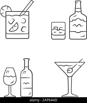 Drinks linear icons set. Cocktail in lowball glass, whiskey, wine, martini. Alcoholic beverages. Drinks and mixes. Thin line contour symbols. Isolated - Stock Photo