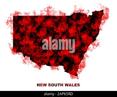 New South Wales Map Fire on White Background. Bushfire In Australia Wilderness. Save Australia Concept. Series of Massive Bushfires Across Australia. - Stock Photo