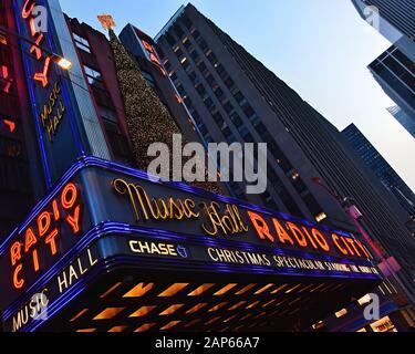 Manhattan, New York, NY, USA - November 30, 2019. Radio City Music Hall building at night , Midtown Manhattan, NY, USA .