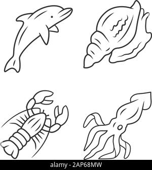 Ocean animals linear icons set. Dolphin, squid, lobster, triton. Underwater inhabitant. Sea fauna. Aquatic creatures. Thin line contour symbols. Isola - Stock Photo