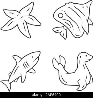 Sea animals linear icons set. Starfish, butterflyfish, shark, seal. Ocean wildlife. Fish species. Undersea world. Thin line contour symbols. Isolated - Stock Photo