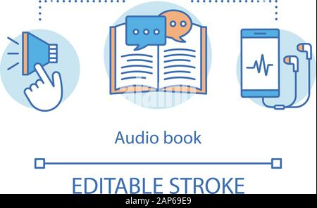Audio book concept icon. Audio-recorded literature idea thin line illustration. Audiobooks, records. Ebooks listening with smartphone headphones. Vect - Stock Photo