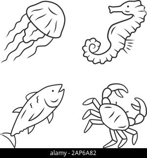 Sea animals linear icons set. Swimming tuna, crab, jellyfish. Seafood restaurant. Marine fauna. Undersea inhabitants. Thin line contour symbols. Isola - Stock Photo