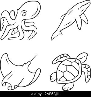 Underwater world linear icons set. Swimming octopus, squid, turtle. Ocean animals. Marine fauna. Aquatic creatures. Thin line contour symbols. Isolate - Stock Photo