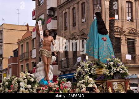 The meeting between the Virgin Mary and Jesus is celebrated on the morning of Resurrection Sunday in the main square of the town. - Stock Photo