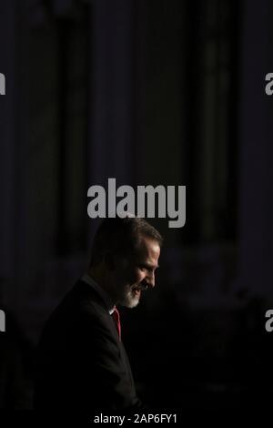 Madrid, Spain. 21st Jan, 2020. Spain's King Felipe VI attends the 40th edition of FITUR Tourism Fair at Cybeles Palace in Madrid, Spain, 21 January 2020. Credit: JuanJo Martin/EFE/Alamy Live News - Stock Photo