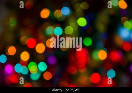 Colorful abstract background: varied colored lights out of focus