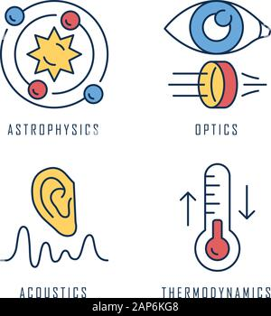 Physics branches color icons set. Astrophysics, optics, acoustics and thermodynamics. Physical processes and phenomenons. Scientific researches and su - Stock Photo