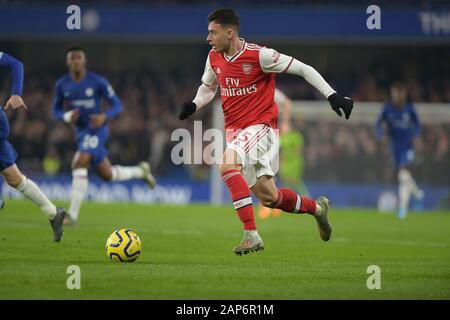 London, UK. 21st Jan, 2020. Gabriel Martinelli of Arsenal during the Chelsea vs Arsenal Premier League match at Stamford Bridge London 21st November 2020-EDITORIAL USE ONLY No use with unauthorised audio, video, data, fixture lists (outside the EU), club/league logos or 'live' services. Online in-match use limited to 45 images ( 15 in extra time). No use to emulate moving images. No use in betting, games or single club/league/player publications/services- Credit: MARTIN DALTON/Alamy Live News - Stock Photo