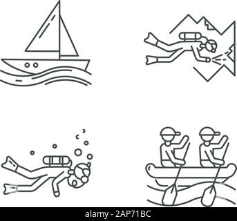 Watersports linear icons set. . Cave diving, sailing and rafting. Extreme kinds of sport. Summer activities .Thin line contour symbols. Isolated vecto - Stock Photo