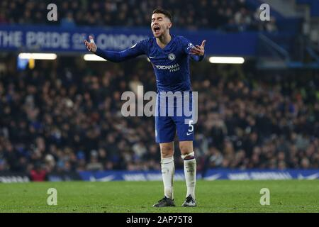 London, UK. 21st Jan, 2020. Jorginho of Chelsea during the Premier League match between Chelsea and Arsenal at Stamford Bridge, London on Tuesday 21st January 2020. (Credit: Jacques Feeney | MI News) Editorial use only. Credit: MI News & Sport /Alamy Live News - Stock Photo